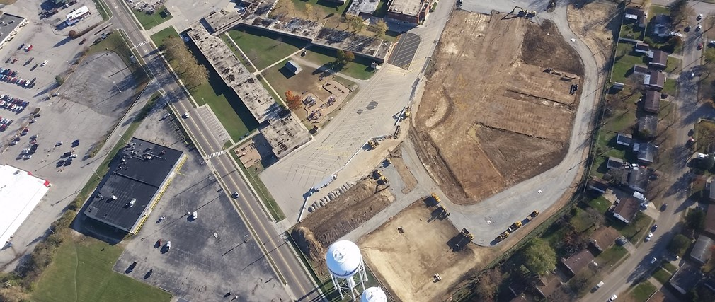 Aerial view of Fairborn Primary School building site