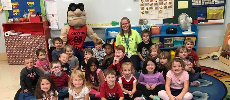 Rudy the Flyer visits Mrs. Rolfe's class
