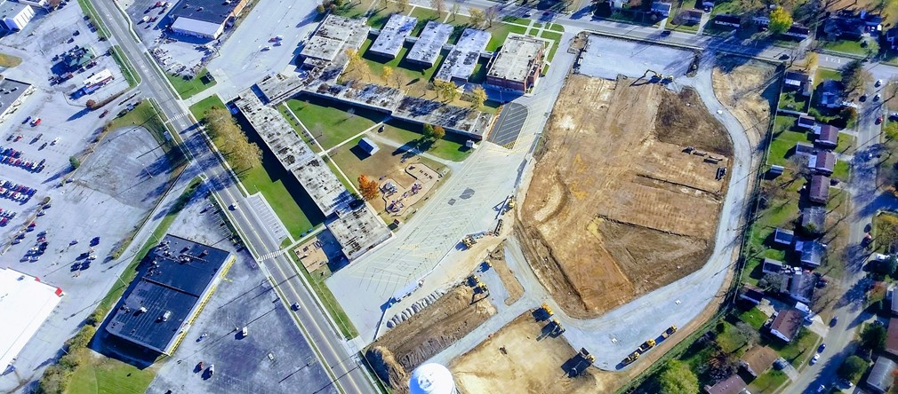 Aerial view of the new Fairborn Primary School construction site