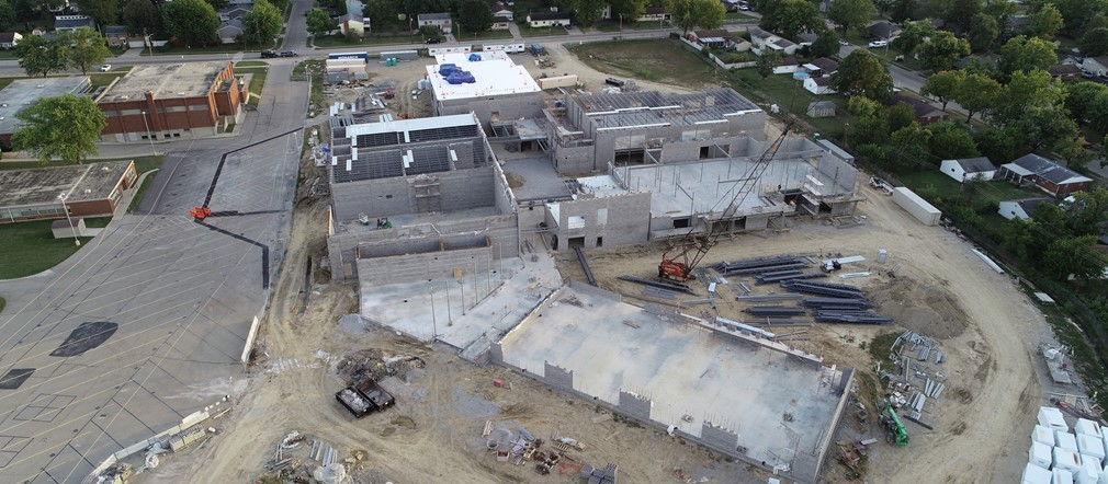 Fairborn Primary School construction aerial view