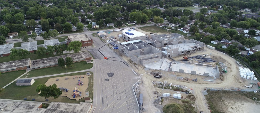Fairborn Primary Aerial view of construction site