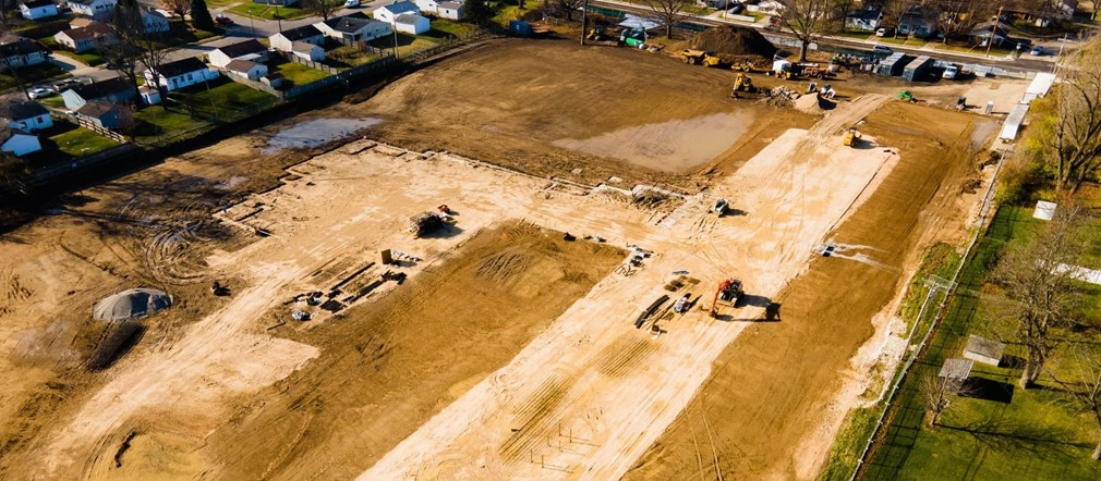 Busy Bee Aerials view of construction at Fairborn Intermediate School site