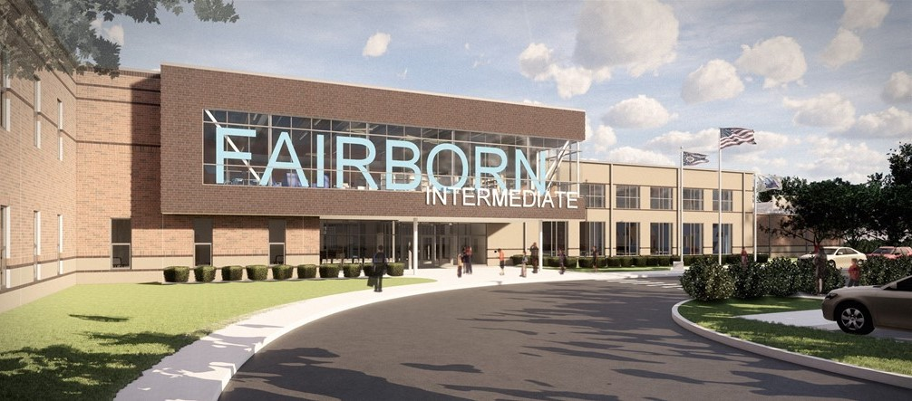 Photo of front entrance new Fairborn Intermediate School rendering