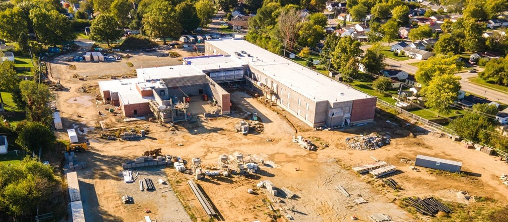 Aerial view Fairborn Intermediate construction site from Mark Rickert-Busy Bee Aerials LLC October 18, 2021