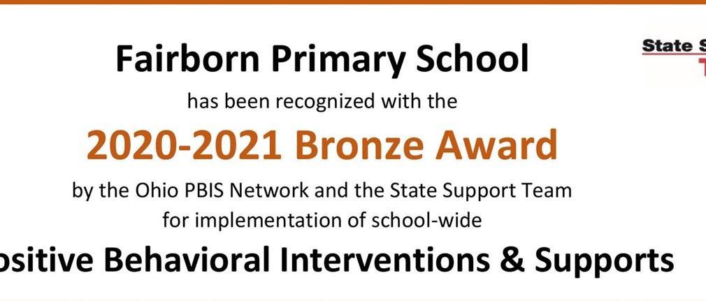 Fairborn Primary School 2020-2021 Bronze Award PBIS