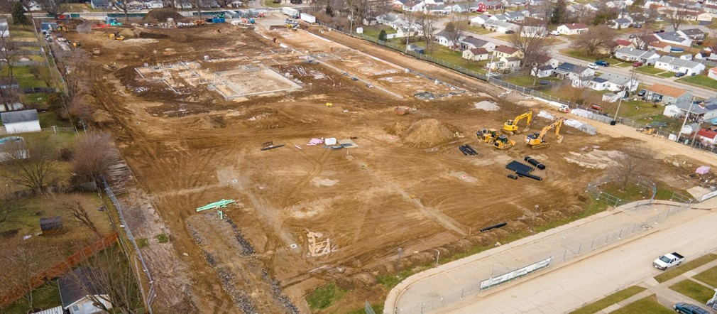 Aerial photograph from Mark Rickert Busy Bee Aerial Productions LLC of FIS construction site