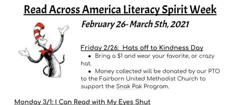 Read Across America Literacy Spirit Week at Fairborn Primary School