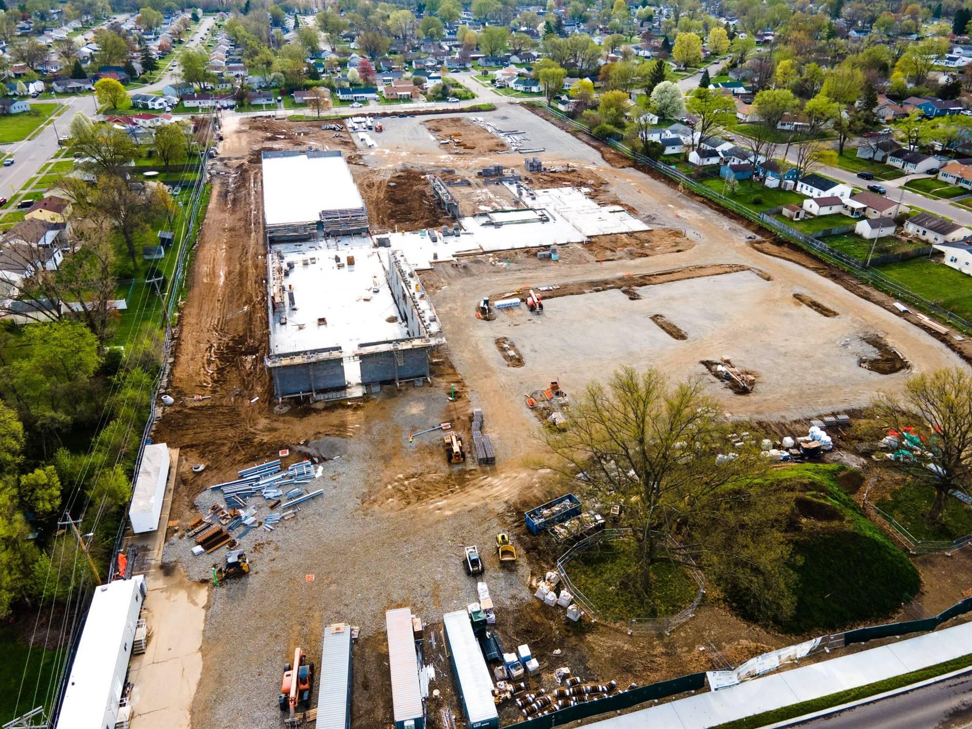 Aerial view-construction of Fairborn Intermediate School